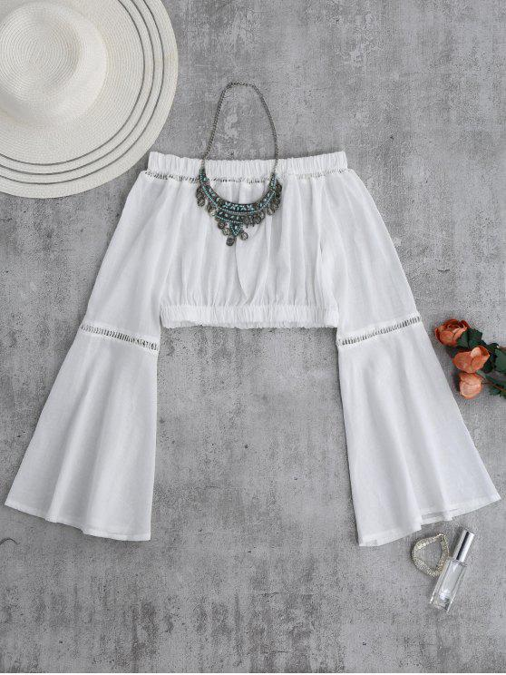 hot Off Shoulder Flare Sleeve Crop Top - WHITE S