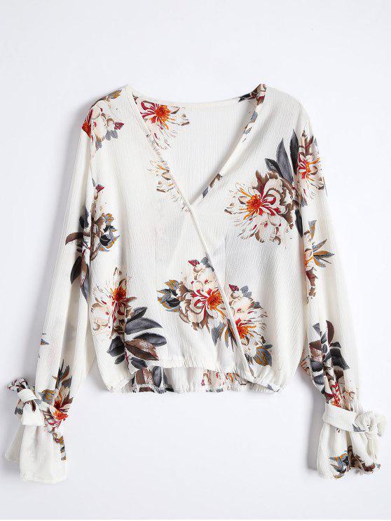 latest Floral Flare Sleeve Surplice Blouse - COLORMIX S
