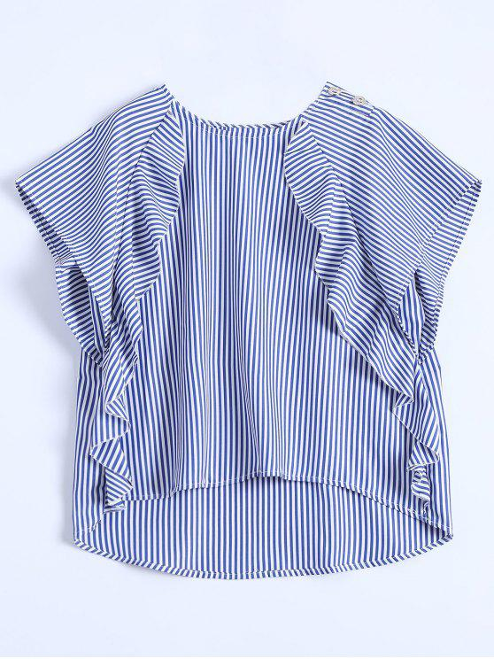 fancy Dip Hem Ruffle Striped Blouse - BLUE S