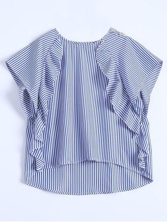unique Dip Hem Ruffle Striped Blouse - BLUE M