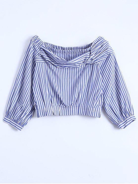 buy Off Shoulder Striped Elastic Hem Top - BLUE M