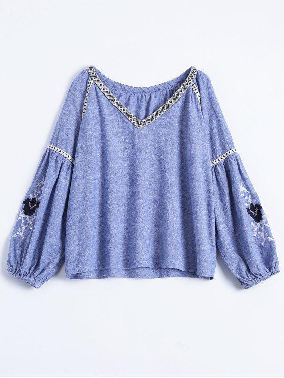 best Embroidered Puff Sleeve Top - BLUE M