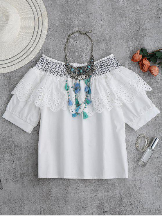outfit Zig Zag Off Shoulder Saclloped Ruffle Top - WHITE L