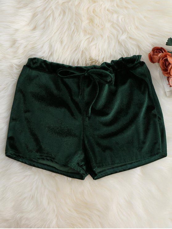 Pantalones cortos de bucle de retorno de la cintura del terciopelo - Verde XL