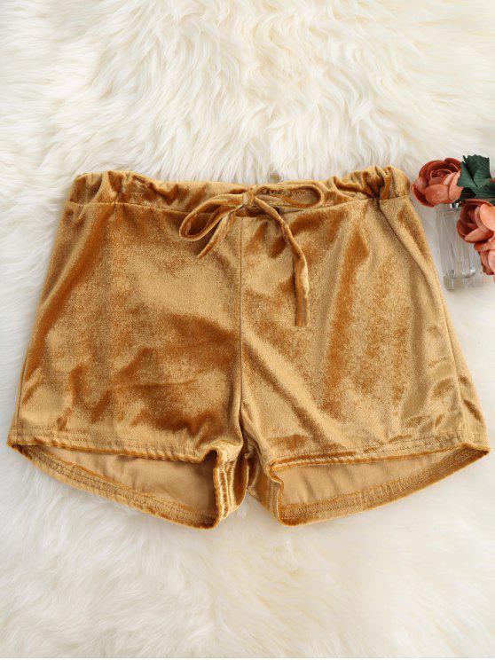 Pantalones cortos de bucle de retorno de la cintura del terciopelo - Dorado L