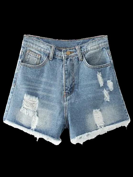 Cortes Distressed Denim Shorts - Azul claro 27
