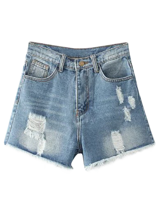 online Cutoffs Distressed Denim Shorts - LIGHT BLUE 25