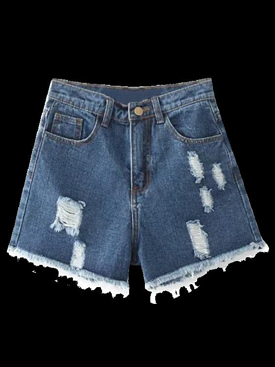 outfit Cutoffs Distressed Denim Shorts - DEEP BLUE 28