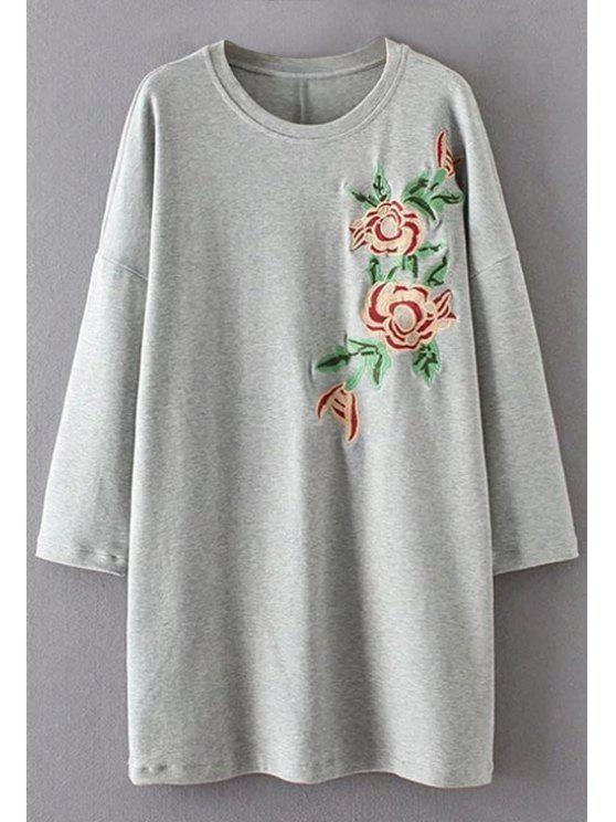 ladies Long Sleeve Floral Embroidered Casual Dress - GRAY M