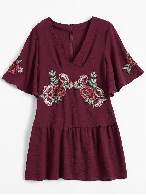 Robe plisssée avec broderie florale et décoration de falbalas - Rouge vineux  L