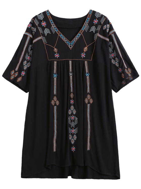shops Ethnic Embroidered Shift Dress - BLACK ONE SIZE