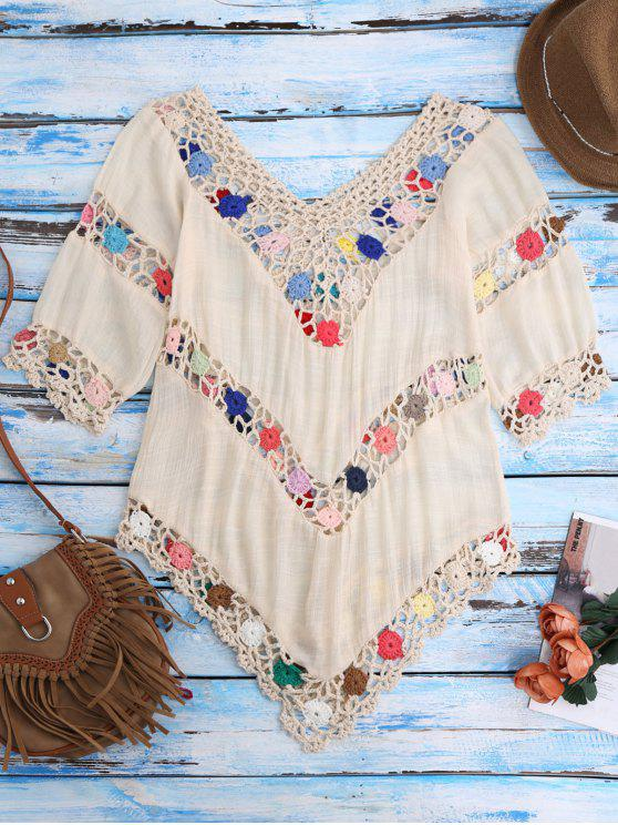 buy Crochet Chevron Beach Cover-Up Tunic - BEIGE ONE SIZE