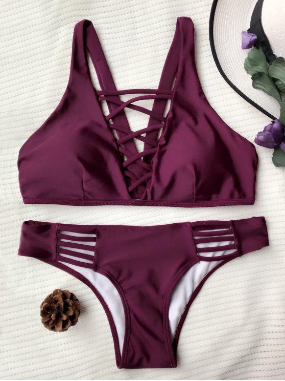 Bikini paddé à bretelle avec lacets entrecoisés - Bourgogne M