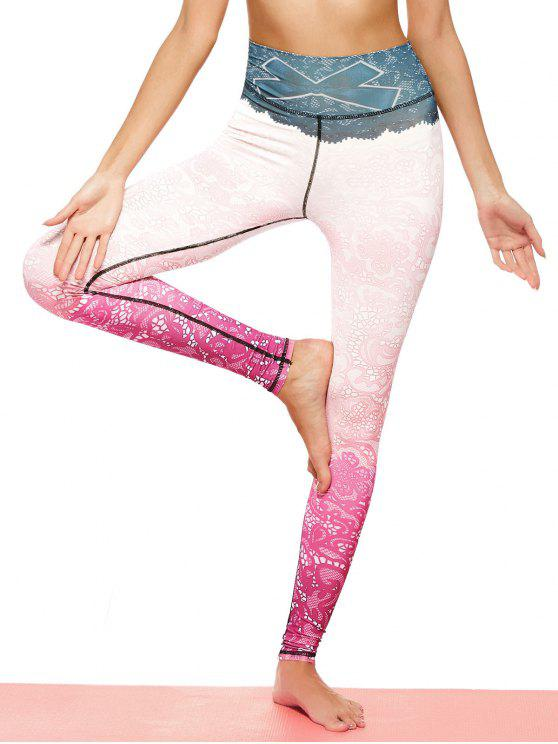 affordable Print Lace Ombre Stirrup Leggings - PINKISH PURPLE M
