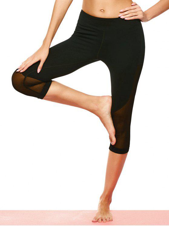 Mesh-Panel Capri Leggings - Schwarz L