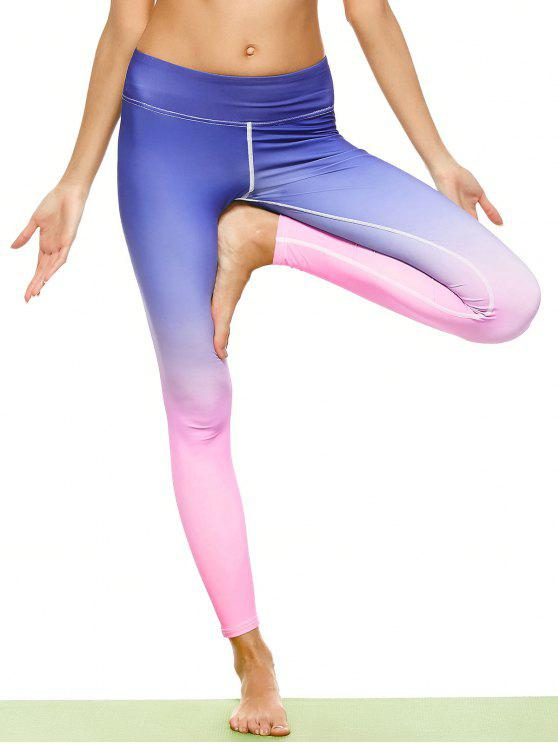 affordable Ombre Stirrup Yoga Leggings - GRADUAL PINK L