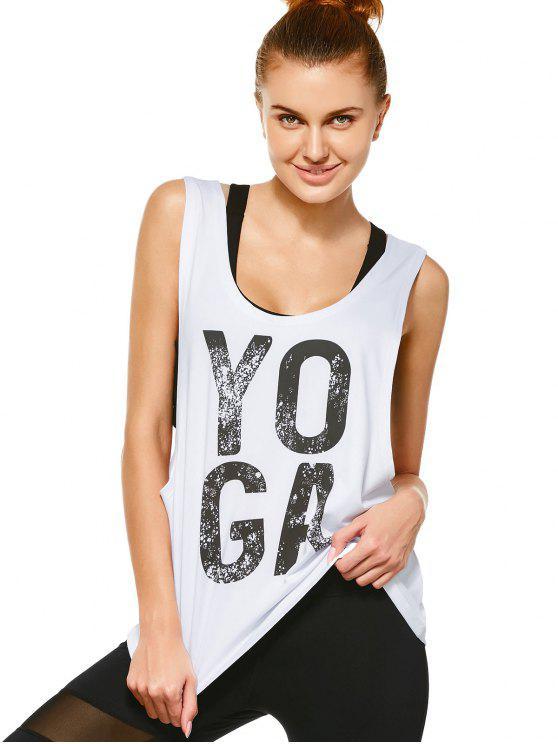 shop Yoga Dropped Armhole Sports Tank Top - WHITE M