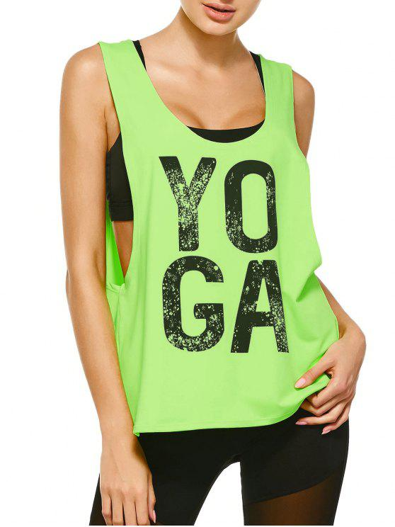fancy Yoga Dropped Armhole Sports Tank Top - FLUORESCENT YELLOW M