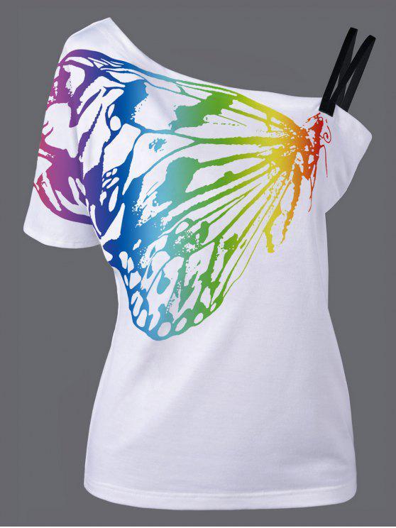 T-Shirt à Encolure Cloutée Imprimé Papillon - Blanc L