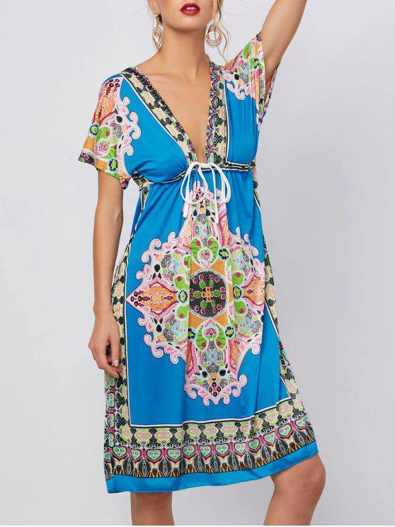 Abgestürzter Ausschnitt Ethnic Print Mini Kleid - Blau XL