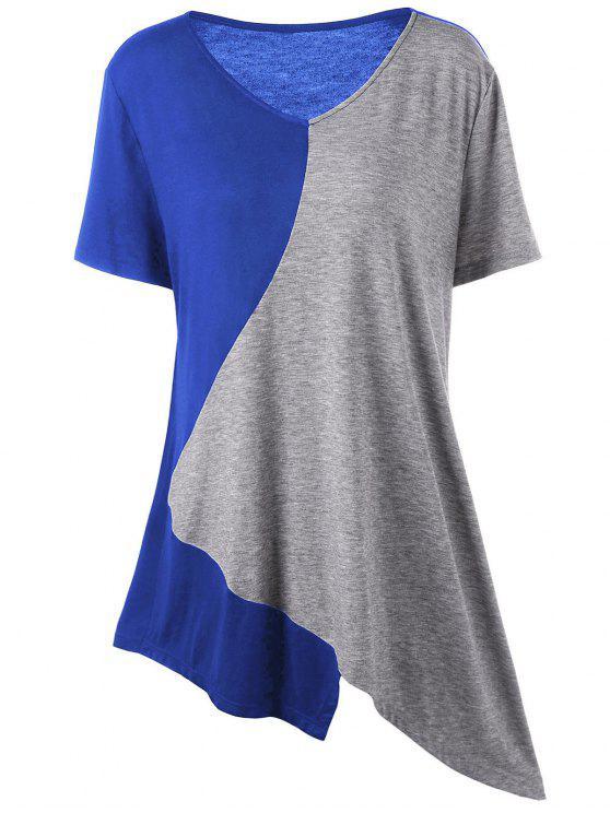 T-Shirt Asimmetrica Lunga Plus Size A Blocchi Di Colore - Grigio e Blu 2XL
