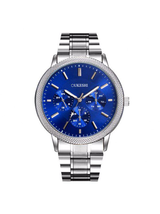 OUKESHI ساعة شريطها معدني - أزرق