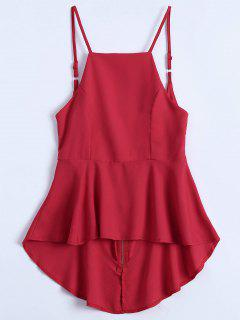 Slip Low Back Peplum Top - Red Xl