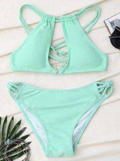 Braided Cross Back Keyhole Bikini Set - Light Green M