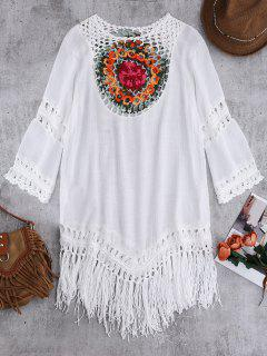Crochet Bib Beach Cover-Up Tunic - White