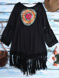 Crochet Bib Beach Cover-Up Tunic - Black