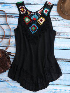 Crochet Yoke Cover-Up Tank Dress - Black