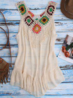 Crochet Yoke Cover-Up Tank Dress - Beige