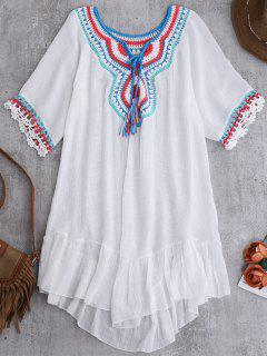 Crochet Bib Beach Cover-Up For Swimwear - White