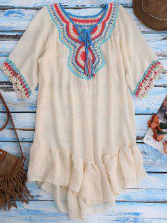 Crochet Bib Beach Cover-Up For Swimwear - Beige