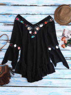 Bell Sleeve Crochet Flower Beach Cover-Up - Black