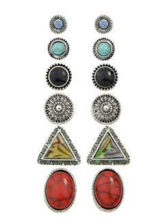Faux Turquoise Rhinestone Circle Earring Set - Silver