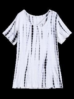 Tie Dye Fotografica Camiseta Del Cuello - Blanco