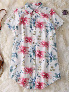 Bouton Floral Shirt Up Tunique En Lin - Rose PÂle Xl