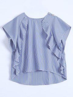 Gestreifte Bluse Mit Rüschen Und Hohem Niedrigem Saum - Blau L