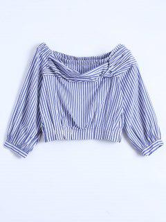 Off Shoulder Striped Elastic Hem Top - Blue L