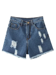 Cutoffs Distressed Denim Shorts - Deep Blue 25
