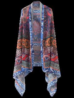 Printed Open Front Kimono Cape - Floral