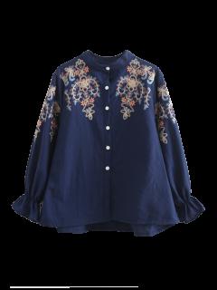 Shirt Brodé Flare Manches - Bleu Violet M