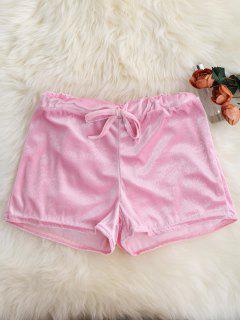 Loopback Waist Velvet Shorts - Pink Xl