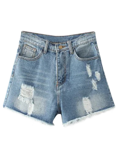 Cutoffs Distressed Denim Shorts - Light Blue 27