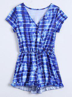 Striped Ruffle Hem Surplice Spielanzug - Blau Xl