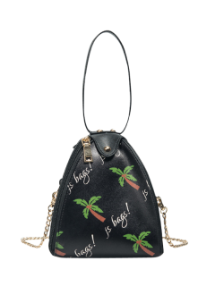 Triangle Shaped Palm Print Wristlet Bag - Black