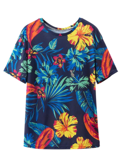 Loose Tropical Print T-Shirt - Purplish Blue L
