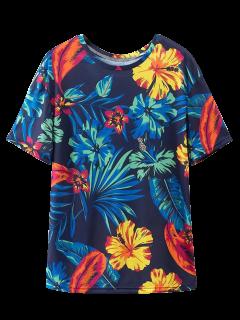 Loose Tropical Print T-Shirt - Purplish Blue S