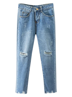 Cutoffs Ripped Tapered Jeans - Denim Blue S